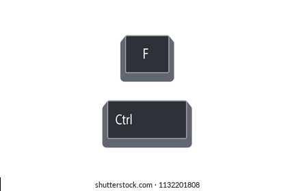 Control (Ctrl) and F computer key button vector isolated on white background. Ctrl+F for open find.