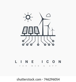 control eco energy info-graphic line vector icon