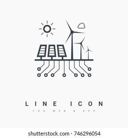 control eco energy info-graphic line vector icon