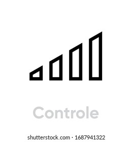 Control flat icon. Editable Vector Stroke. Volume sign. High and low sound level sign vector. Power control sign, audio balance. Single Pictogram.