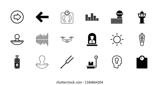 Control icon. collection of 18 control filled and outline icons such as airport tower, back, arrow right, floor scale, tonometer. editable control icons for web and mobile.