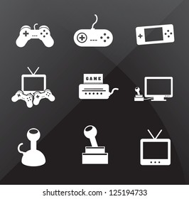 Control icons over black background vector illustration