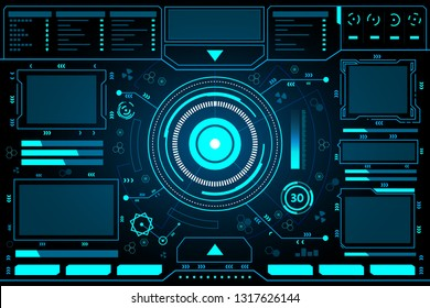Control panel abstract Technology Interface hud on black background vector design.