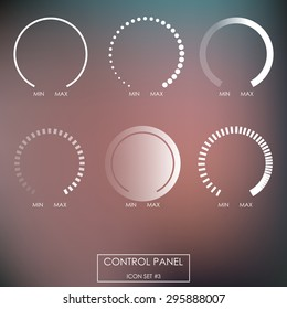 Control panel : Regulators, force sensors, power, heat, cold, pressure, speed, intensity, saturation. On blurred background in linear style