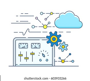 Control panel for your own personal cloud. Vector illustration of API cloud computing options