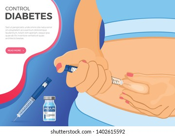 Control your Diabetes concept. Woman holds insulin pen syringe in hand and makes injection. flat style icon. concept of vaccination. isolated vector illustration
