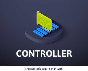 Controller icon, vector symbol in flat isometric style isolated on color background