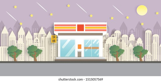 convenience store. 24 hour shop.convenience store open in the night time in paper cut and craft style.
