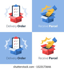 Convenient delivery, open box and hand, shipment check list, collect parcel, pick up point, postal mail, fast order shipping,  receive package, cargo distribution, relocation services, vector icon set