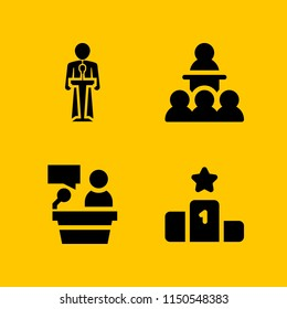 convention icon. 4 convention set with lectern, speaker, conference and podium vector icons for web and mobile app