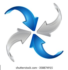 Converge and Contribute  - Business Concepts - Four curved silver and blue arrows converging.