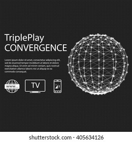 Convergence of mobile telecommunications, triple play include internet, cable tv and mobile connection