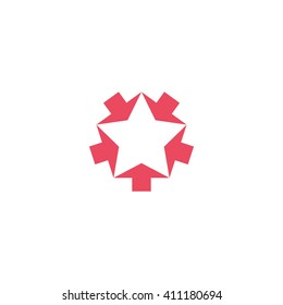 Convergent pink five arrows logo mockup, converge form shape star, creative geometric graphic symbol teamwork