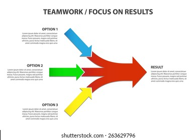Converging Arrows, Teamwork and Focus on Results - Vector Infographic