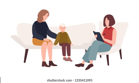 Conversation between mother, child and female psychologist or psychotherapist. Family psychotherapy, psychotherapeutic aid for children with mental problems. Flat cartoon vector illustration.