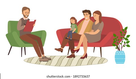 Conversation between parents, child and a man psychologist or psychotherapist. Family psychotherapy, psychotherapeutic aid for children with mental problems. The family is being tested by the doctor