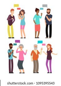 Conversation between people of different age, gender and nationality. Man and woman talking with speech bubbles vector set isolated. Speak and chat, meeting and communication discussion illustration