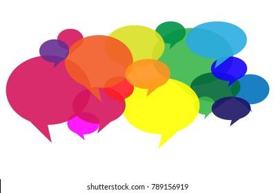 Conversation bubbles in different colors