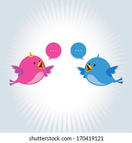 Conversation / Communication. Vector illustration of two little birds communicating with each other.
