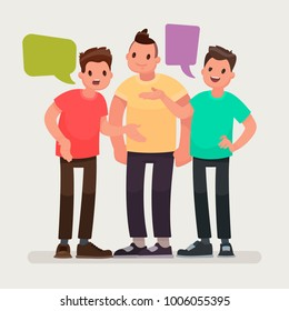 Conversation of friends. Discussion of news, communication on different topics. The men are talking. Vector illustration in a flat style