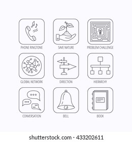 Conversation, global network and direction icons. Save nature, maze and book linear signs. Bell and phone ringtone flat line icons. Flat linear icons in squares on white background. Vector