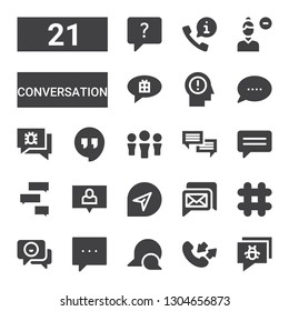 conversation icon set. Collection of 21 filled conversation icons included Chat, Conversation, Comment, Hashtag, Hangout, Think, Remove user, Call