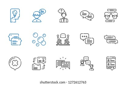 conversation icons set. Collection of conversation with chat, dialogue, discussion, bubbles, thinking. Editable and scalable conversation icons.
