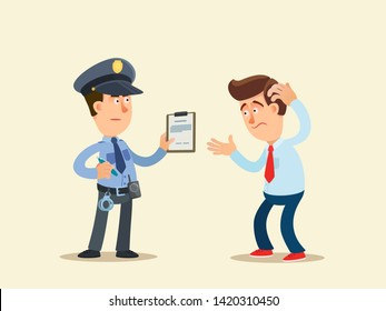 Conversation of a policeman with a man. Serious cop and confused person. Vector illustration, flat cartoon style. Isolated background.