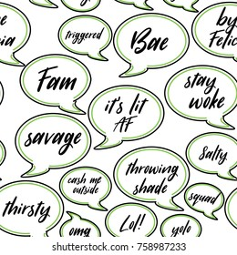 Conversation speech bubbles of current teen or millennial slang seamless repeating background. Phrases include bae, stay woke, triggered, lol, yolo, salty, cash me outside and fam.