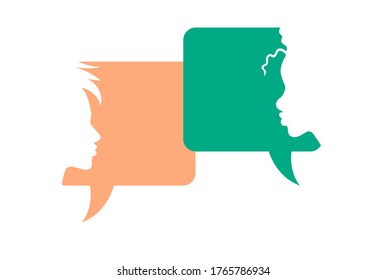 Conversation - two diverse person having a dialog. Chatting boxes with woman face silhouette. Vector illustration.