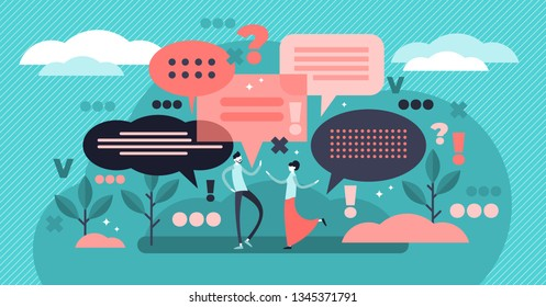 Conversation vector illustration. Flat tiny talking bubble persons concept. Social discussion to express thoughts verbal. Abstract idea dialog communication. Face to face questions and answers meeting
