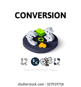 Conversion icon, vector symbol in flat, outline and isometric style