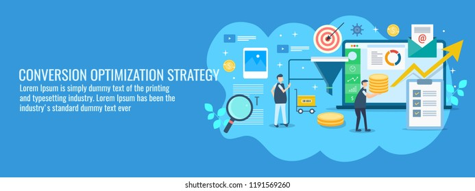 Conversion optimization strategy - Business conversion success vector - flat banner illustration on blue background