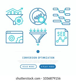 Conversion optimization thin line icons set: marketing, customer management, SEO technology, website promotion, visitors, sales funnel, web traffic. Modern vector illustration.