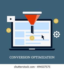 Conversion optimization vector icon, conversion, sales funnel, lead generation conceptual flat vector