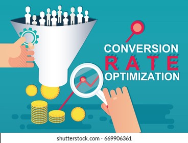 Conversion rate optimization, CRO concept. Lead generation. Vector illustration