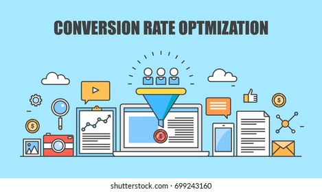 Conversion rate optimization, customer conversion, digital sales funnel flat vector banner illustration with marketing icons