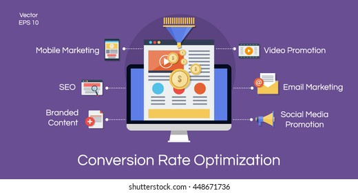 Conversion rate optimization flat illustration
