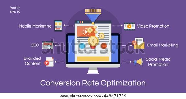 Conversion rate optimization flat illustration