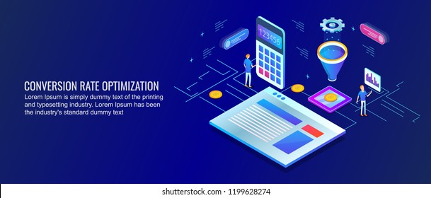 Conversion rate optimization, Conversion funnel, conversion rate flat design 3D style isometric banner