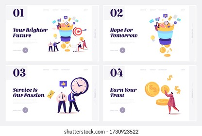 Conversion Rate Optimization Landing Page Template Set. Tiny Characters Put Money into Huge Sales Funnel. Digital Lead Generations Strategy, Funnel Marketing. Cartoon Vector People Illustration