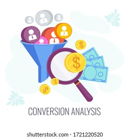 Conversion Rate optimization. Potential customer becoming an actual customer. Lead generation. Sales funnel. Digital online marketing KPI. Strategy and management. Flat vector illustration
