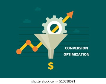 Conversion Rate Optimization - vector illustration. Internet marketing concept with Sales Funnel and growth chart. Vector banner in flat style.