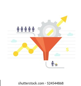 Conversion Rate Optimization - vector illustration. Visitors enter the sales funnel. Internet marketing conversion concept in flat style.