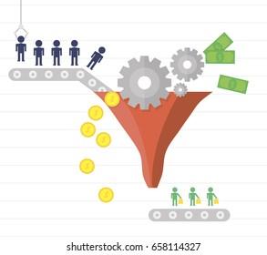 Conversion rate optimization. Visitors enter the sales funnel. Internet marketing conversion. Vector illustration flat