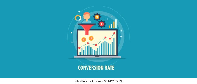 Conversion rate, Sales funnel optimization, Business lead analysis flat vector concept