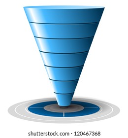 Conversion or sales funnel easily customizable, from 1 to 7 levels plus on target, vector graphics. Blue tones. Sales pipeline