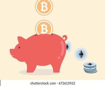 Convert from Bitcoin to Ethereum via piggy bank