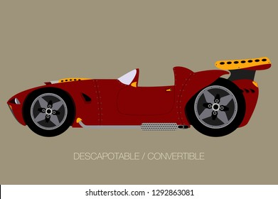 convertible supercar, side view of car, automobile, motor vehicle