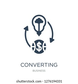 converting ideas in money icon vector on white background, converting ideas in money trendy filled icons from Business collection, converting ideas in money vector illustration